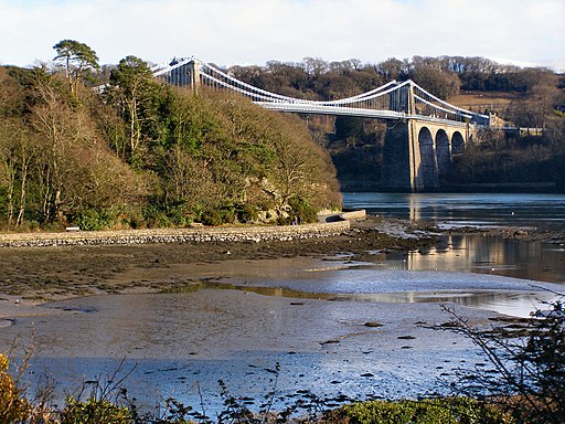 Menai Suspension Bridge and Belgian Promenade, from Church Island - geograph.org.uk - 1718147