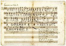 Autograph des dreistimmigen Liedes Wenn der Abendwind durch die Wipfel zieht, 1828 (Quelle: Wikimedia)