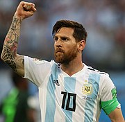 8b7c70eace2 Lionel Messi celebrating v Nigeria at the 2018 World Cup. He is the highest  goalscorer in the history of Argentina with 65 goals