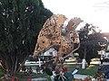 Mexican Eagle golden metallic sculpture featuring gears.jpg