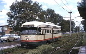 Xochimilco Light Rail - A St. Louis Car Co PCC-type tram in the wide median of Calzada de Tlalpan in 1971