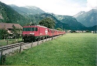 Brünig railway line - A train near Meiringen, under Swiss Federal Railways ownership.