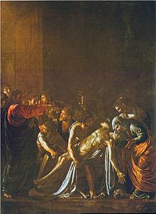 Peinture représentant deux femmes recueillant un jeune homme mort qu'une foule leur apporte, tandis qu'un homme debout, vêtu de rouge, tend la main vers le jeune homme.
