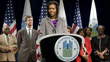 First Lady Michelle Obama addresses the staff ...