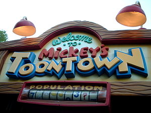English: Sign at the Entrance to Mickey's Toontown