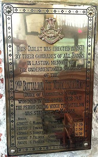 Middlesex Regiment - Middlesex Regiment Memorial, St. Mary's Church, Madras