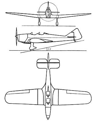 Miles Hawk - Miles Hawk 3-view drawing from L'Aerophile April 1937