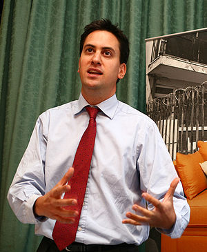 Ed Miliband MP speaking at the Labour Party co...