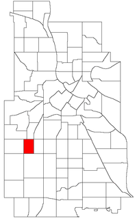 Location of East Calhoun within the U.S. city of Minneapolis