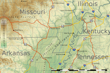 Topographic map of the bootheel and surrounding areas of Missouri and neighboring states. Missouri Bootheel topo map v1.png