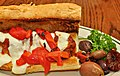 Mmm... Meatball sub with marinara sauce, mozzarella, and roasted peppers (6432603233).jpg