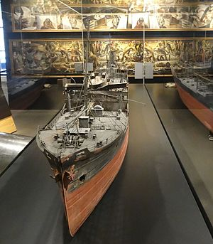 San Demetrio London - Image: Model of MV San Demetrio, on display at IWM 01