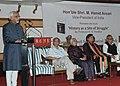 "Mohammad Hamid Ansari addressing at the release of a book entitled ""History as a Site of Struggle"" written by Prof. K.N Panikkar, in Thiruvananthapuram, Kerala. The Governor of Kerala.jpg"