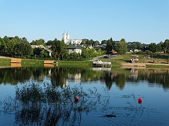 Molėtai - Image: Molėtai, vaizdas nuo tvenkinio