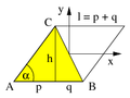 Moment of inertia parallelogram and triangle.png