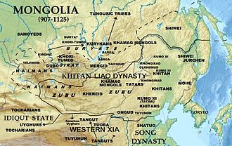 Genghis Khan - The locations of the Mongolian tribes during the Khitan Liao dynasty (907–1125)