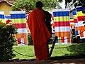 Monk in Monastery with Prayer Flags - Ruvanvelisaya Dagoba - Anuradhapura - Sri Lanka (13964726517).jpg