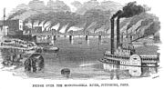 Monongahela River Scene Pittsburgh PA 1857