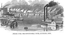 Eine historische Szene von 1857 des Monongahela River in der Innenstadt von Pittsburgh mit einem Dampfschiff
