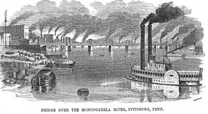 "Name of Pittsburgh - An 1857 etching from Ballou's Pictorial in which the ""Pittsburg"" spelling is used"