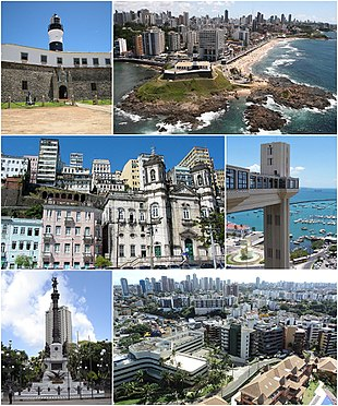 """From the top: Farol da Barra Lighthouse, Ponta de Santo Antonio, southern end of town. Featured, the <a href=""""http://search.lycos.com/web/?_z=0&q=%22Barra%20%28neighborhood%29%22"""">Barra</a> Lighthouse, Buildings Facades in the Harbor at Salvador, Lacerda Elevator, The monument to the heroes of the battles of Independence of Bahia, panoramic view of the city."""