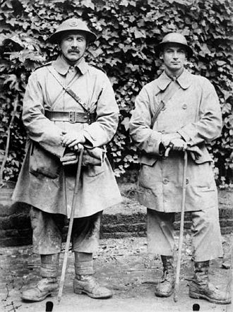 Bernard Montgomery - Bernard L. Montgomery, DSO (pictured on the right as a captain), with a fellow officer of 104th Brigade, 35th Division. Montgomery served with the brigade from January 1915 until early 1917.