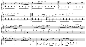 Transition (music) - Image: Mozart Sonata in C Major, K. 309, I exposition transition