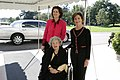 Mrs. Laura Bush Welcomes Former First Lady Lady Bird Johnson and Her Daughter, Lynda Johnson Robb, to the White House.jpg