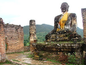 Laos - Ruins of Muang Khoun, former capital of Xiangkhouang province, destroyed by the American bombing of Laos in the late 1960s.