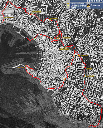 Walls of Genoa - Map of the city walls in the 14th century