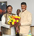 N. Chandrababu Naidu meeting the Minister of State for Culture (Independent Charge), Tourism (Independent Charge) and Civil Aviation, Dr. Mahesh Sharma, in New Delhi on December 09, 2015.jpg