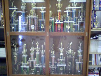 Award - Some of the trophies earned by the NJROTC unit of Port Charlotte High School.