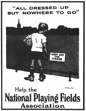 Fields in Trust - Marketing image created by the then National Playing Fields Association in the 1920s
