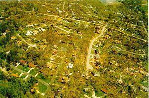 Dunwoody, Georgia - The 1998 tornado's path through a Dunwoody neighborhood