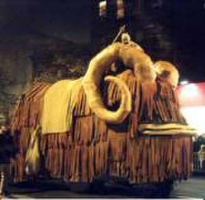 New York's Village Halloween Parade - A Tusken Raider rides a mammoth-sized Bantha puppet, designed by Oliver Dalzell.