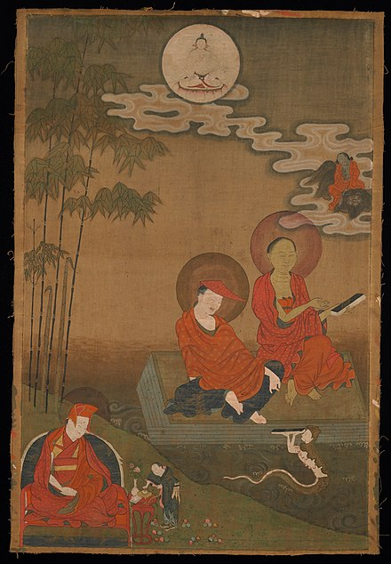 Nagarjuna (right) and Aryadeva (middle). Nagarjuna and Aryadeva as Two Great Indian Buddhist Scholastics - Google Art Project.jpg