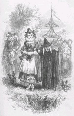 Pendle witches - Two of the accused witches, Anne Whittle (Chattox) and her daughter Anne Redferne. Illustration from William Harrison Ainsworth's 1849 novel The Lancashire Witches.