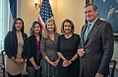 Nancy Pelosi with California State University Chancellor Tim White and members of Cal State Student Association.jpg