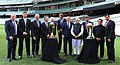 Narendra Modi with the Prime Minister of Australia, Mr. Tony Abbott, Shri Sunil Gavaskar, Shri Kapil Dev and Shri V.V.S. Laxman at the Civic Reception hosted by the Australian PM, at MCG, Australia on November 18, 2014 (2).jpg