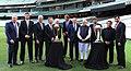 Narendra Modi with the Prime Minister of Australia, Mr. Tony Abbott, Shri Sunil Gavaskar, Shri Kapil Dev and Shri V.V.S. Laxman at the Civic Reception hosted by the Australian PM, at MCG, Australia on November 18, 2014 (2).jpg