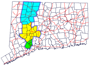 Naugatuck River Valley - Map of Connecticut showing the regions of the Naugatuck River Valley. Green is the  Valley, yellow is the Greater Waterbury area, and blue is the Litchfield Hills region.
