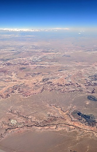 Navajo Nation - Aerial view looking south across Arizona's Painted Desert with part of the Navajo Reservation in the foreground