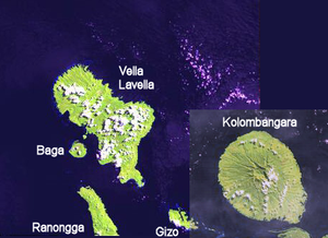 Gizo, Solomon Islands - A landsat image of southwestern New Georgia island group