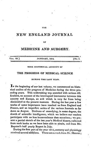 The New England Journal of Medicine - January 1814 edition of the Journal.