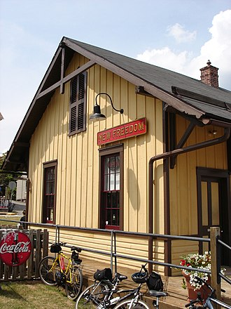 New Freedom, Pennsylvania - Former Pennsylvania Railroad Station, now a restaurant and museum on the York County Heritage Rail Trail County Park