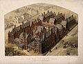 New Infirmary, Leeds, Yorkshire; bird's-eye view. Coloured l Wellcome V0012812.jpg