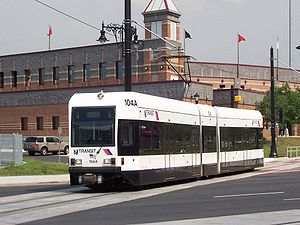 Newark Light Rail - A Newark Light Rail car crosses Broad Street by Riverfront Stadium in Newark, pulling into the Newark Broad Street station.