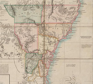 Lands administrative divisions of New South Wales - 1832 map showing the nine counties in use before Thomas Mitchell surveyed the Nineteen Counties in 1834