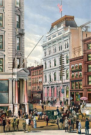 Broad Street (Manhattan) - The Stock Exchange at 10-12 Broad Street, in 1882