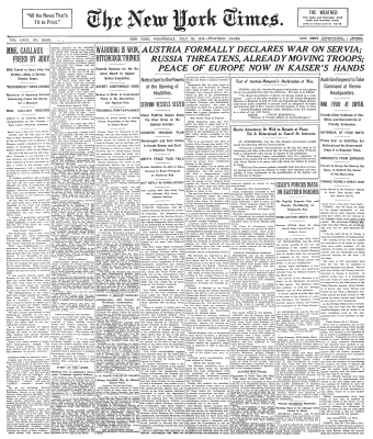 Front page of The New York Times on July 29, 1914, announcing Austria-Hungary's declaration of war against Serbia New York Times Frontpage 1914-07-29.png